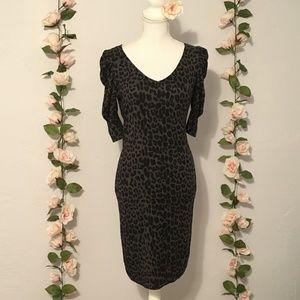 Gray Leopard Print Sweater Dress